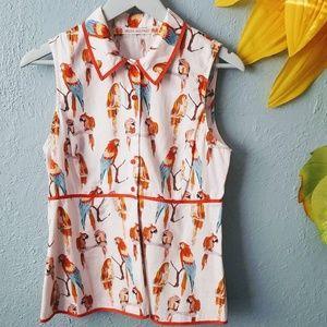 Chelsea & Violet bird print sleeveless blouse M